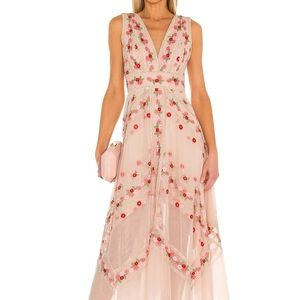 BCBG MAXAZRIA Embroidered Tulle Dress in Bare Pink